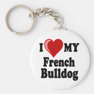 I Love (Heart) My French Bulldog Dog Keychain