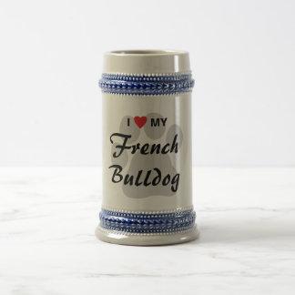 I Love (Heart) My French Bulldog Pawprint Beer Stein