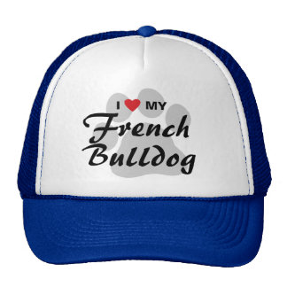 I Love (Heart) My French Bulldog Pawprint Trucker Hat