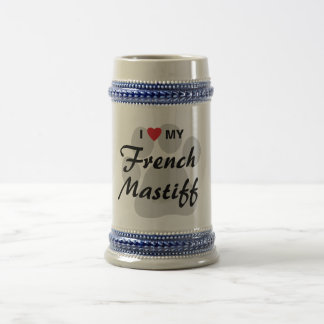 I Love (Heart) My French Mastiff Pawprint Beer Stein