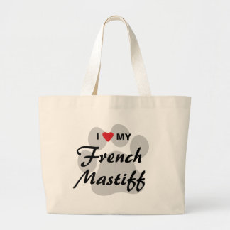 I Love (Heart) My French Mastiff Pawprint Large Tote Bag