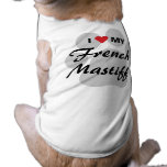 I Love (Heart) My French Mastiff Pawprint Tee
