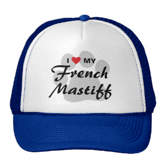 I Love (Heart) My French Mastiff Pawprint Trucker Hat
