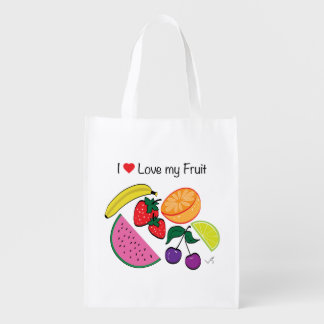 I Love (Heart) My Fruit...Cool Market Totes