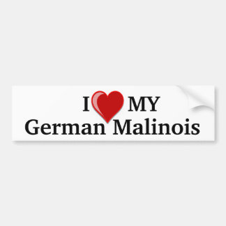 I Love (Heart) My German Malinois Dog Bumper Car Bumper Sticker