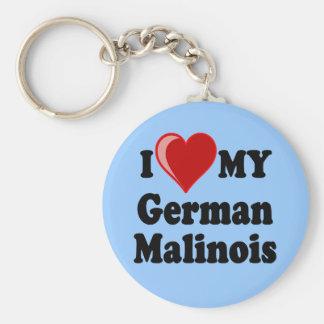 I Love (Heart) My German Malinois Dog Keychain Basic Round Button Keychain