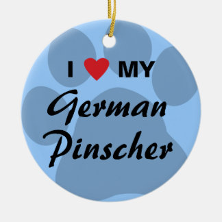 I Love (Heart) My German Pinscher Double-Sided Ceramic Round Christmas Ornament
