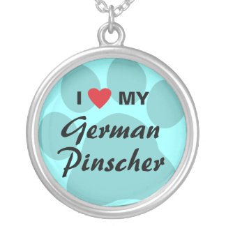 I Love (Heart) My German Pinscher Silver Plated Necklace