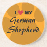 I Love (Heart) My German Shepherd Coaster