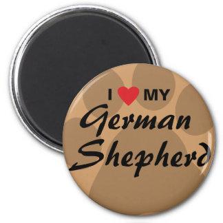 I Love (Heart) My German Shepherd Pawprint 2 Inch Round Magnet