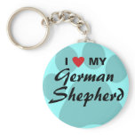 I Love (Heart) My German Shepherd Pawprint Keychain