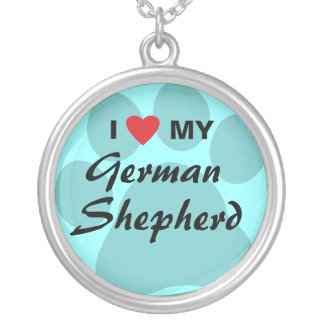 I Love (Heart) My German Shepherd Pawprint Silver Plated Necklace
