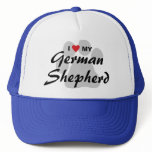 I Love (Heart) My German Shepherd Pawprint Trucker Hat