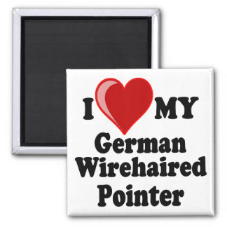 I Love (Heart) My German Wirehaired Pointer Dog 2 Inch Square Magnet