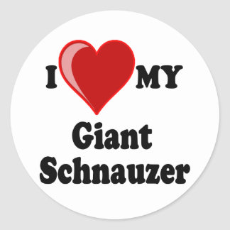 I Love (Heart) My Giant Schnauzer Dog Classic Round Sticker