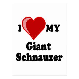I Love (Heart) My Giant Schnauzer Dog Postcard