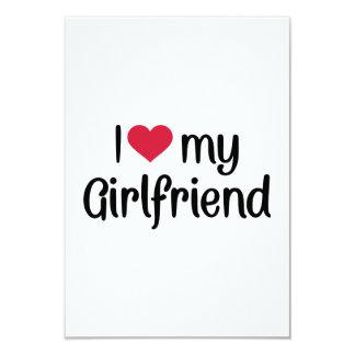 I love heart my girlfriend 3.5x5 paper invitation card