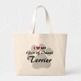 I Love (Heart) My Glen of Imaal Terrier Pawprint Jumbo Tote Bag