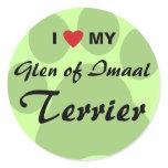 I Love (Heart) My Glen of Imaal Terrier Pawprint Classic Round Sticker