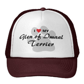 I Love (Heart) My Glen of Imaal Terrier Pawprint Trucker Hat
