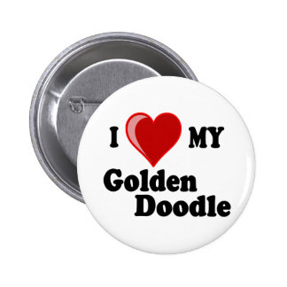 I Love (Heart) My Golden Doodle Dog Buttons