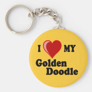 I Love (Heart) My Golden Doodle Dog Keychain Basic Round Button Keychain