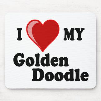 I Love (Heart) My Golden Doodle Dog Mousepads