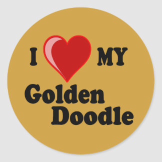 I Love (Heart) My Golden Doodle Dog Sticker