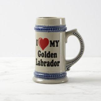 I Love (Heart) My Golden Labrador Dog Beer Stein