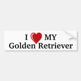 I Love (Heart) My Golden Retriever Dog Car Bumper Sticker