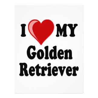 I Love (Heart) My Golden Retriever Dog Flyer Design
