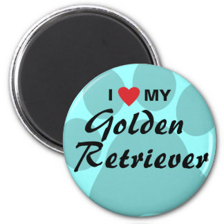 I Love (Heart) My Golden Retriever Pawprint 2 Inch Round Magnet