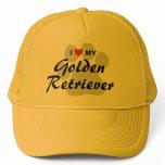 I Love (Heart) My Golden Retriever Pawprint Trucker Hat