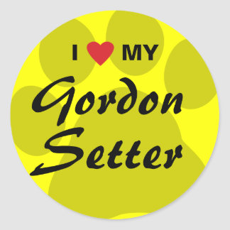 I Love (Heart) My Gordon Setter Classic Round Sticker