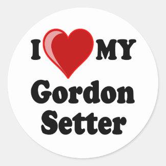I Love (Heart) My Gordon Setter Dog Classic Round Sticker