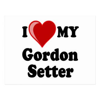 I Love (Heart) My Gordon Setter Dog Postcard