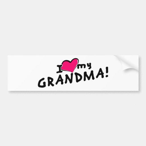 I love (heart) my grandma! bumper stickers