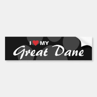 I Love Heart My Great Dane Bumper Sticker