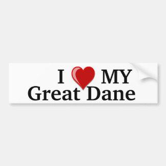 I Love (Heart) My Great Dane Dog Car Bumper Sticker