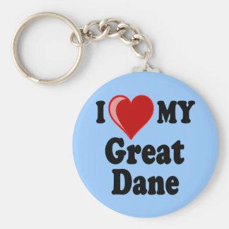 I Love (Heart) My Great Dane Dog Keychain
