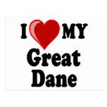I Love (Heart) My Great Dane Dog Post Cards