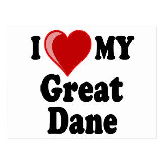 I Love (Heart) My Great Dane Dog Postcard