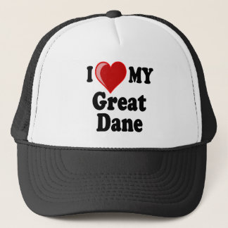 I Love (Heart) My Great Dane Dog Trucker Hat