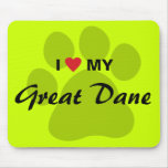 I Love (Heart) My Great Dane Pawprint Mouse Pads