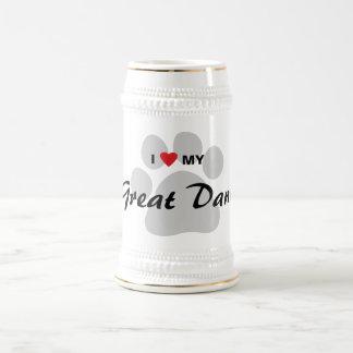 I Love (Heart) My Great Dane Pawprint 18 Oz Beer Stein