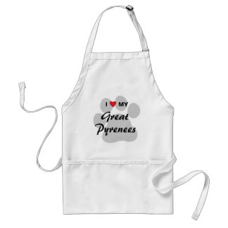 I Love (Heart) My Great Pyrenees Adult Apron