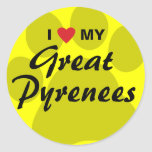 I Love (Heart) My Great Pyrenees Classic Round Sticker
