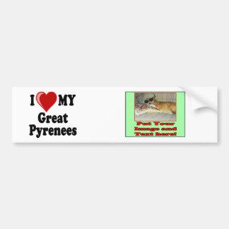 I Love (Heart) My Great Pyrenees Dog Bumper Sticker