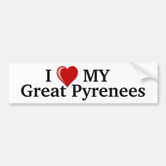 I Love (Heart) My Great Pyrenees Dog Bumper Stickers