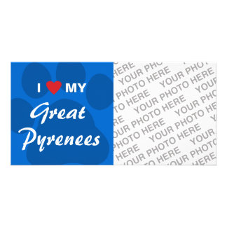 I Love (Heart) My Great Pyrenees Personalized Photo Card